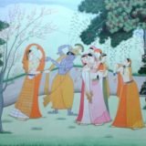 The sports of Krishna with damsels in spring time